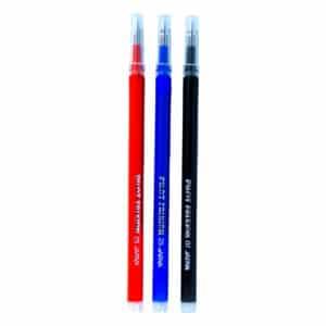 3 frixionblekkpåfyllinger ved siden av hverandre, frixion blekk, rød, blå, svart