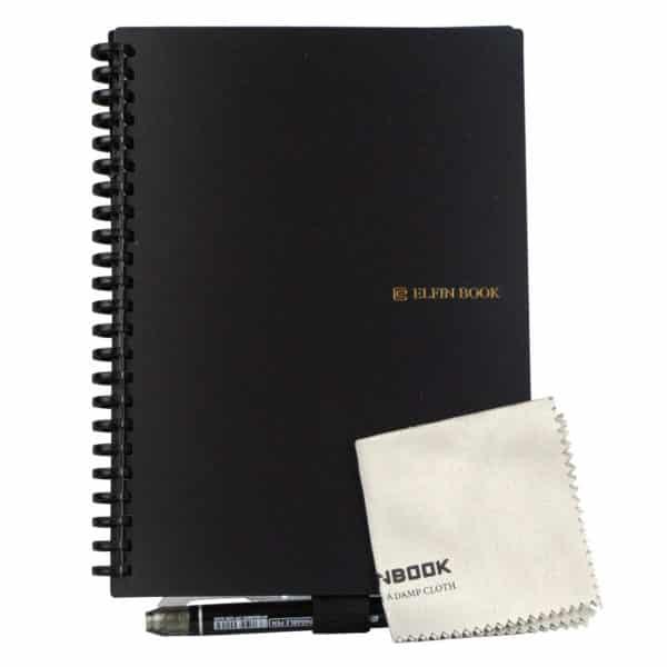 Gjenbrukbar kladdebok med tøyfille og spesialkulepenn, Elfin book, kladdebok