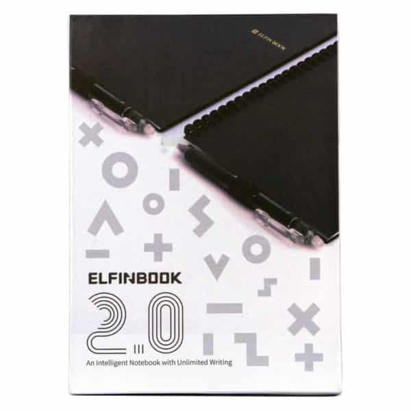 """Forsiden til kladdebokemballasjen, Elfinbook 2.0 """"an intelligent notebook with unlimited writing"""""""