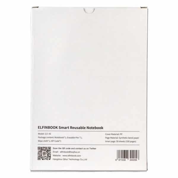 """Baksiden av kladdebok emballasjen med informasjon som lyder """"50 sider og 100 ark, syntetisk papir, plastcovermateriale, innhold en kladdebok, 1 viskbar kulepenn, en liten tøyfille og en vip-kode for medfølgende applikasjon"""